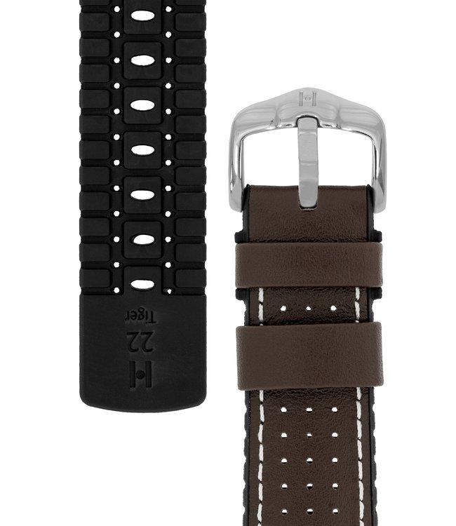 Horlogebandje Tiger Kalfsleer + Premium Caoutchouc (Rubber) 22 mm