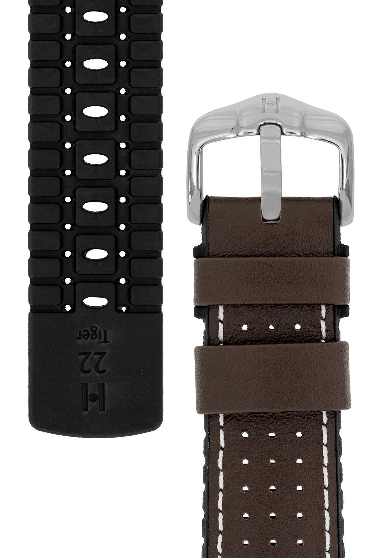 Horlogebandje Tiger Kalfsleer + Premium Caoutchouc (Rubber) 20 mm-5