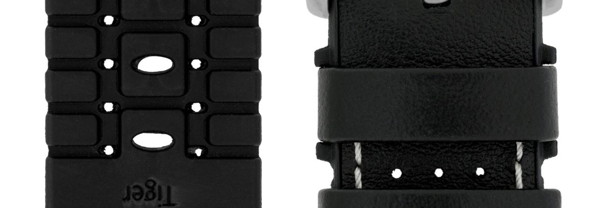Horlogebandje Tiger Kalfsleer + Premium Caoutchouc (Rubber) 20 mm