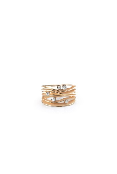 Dune Collection Ring, 18Kt Orange Apricot Gold With Diamonds