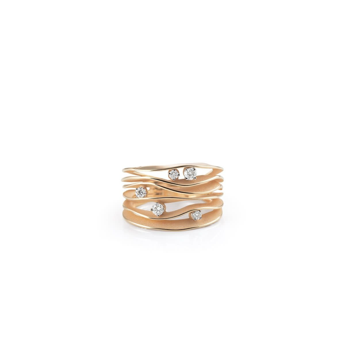 Dune Collection Ring, 18Kt Orange Apricot Gold With Diamonds-1