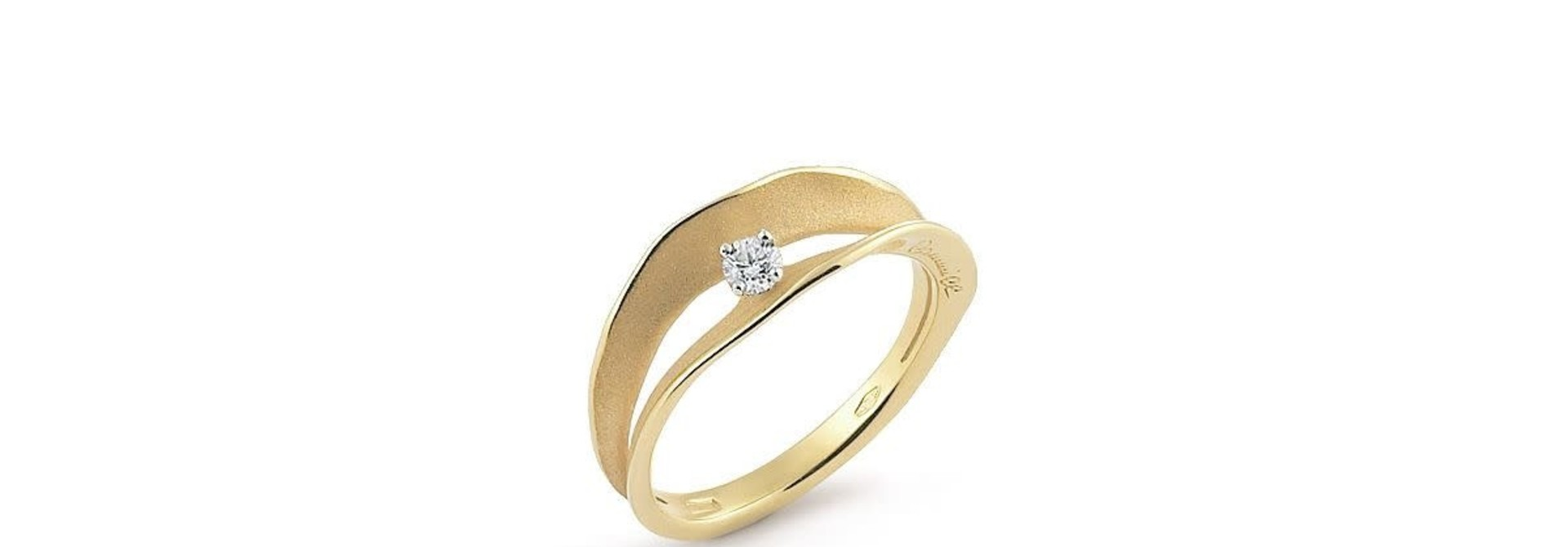 Dune Assolo Collection Ring, 18Kt Yellow Sunrise Gold With Diamonds