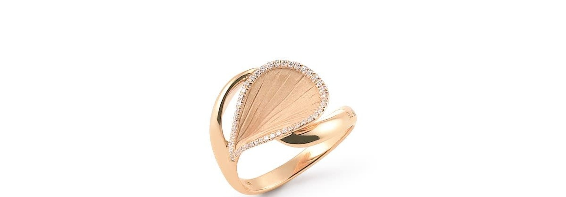 Goccia Collection Ring, 18Kt Orange Apricot Gold With Diamonds