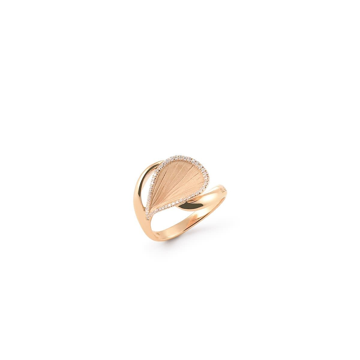 Goccia Collection Ring, 18Kt Orange Apricot Gold With Diamonds-1