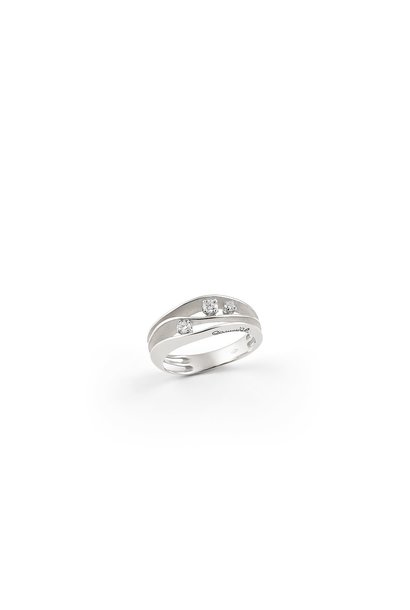 Dune Collection Ring, 18Kt White Ice Gold With Diamonds