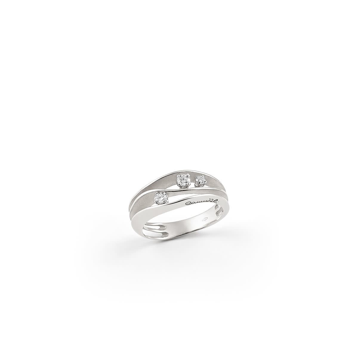 Dune Collection Ring, 18Kt White Ice Gold With Diamonds-1