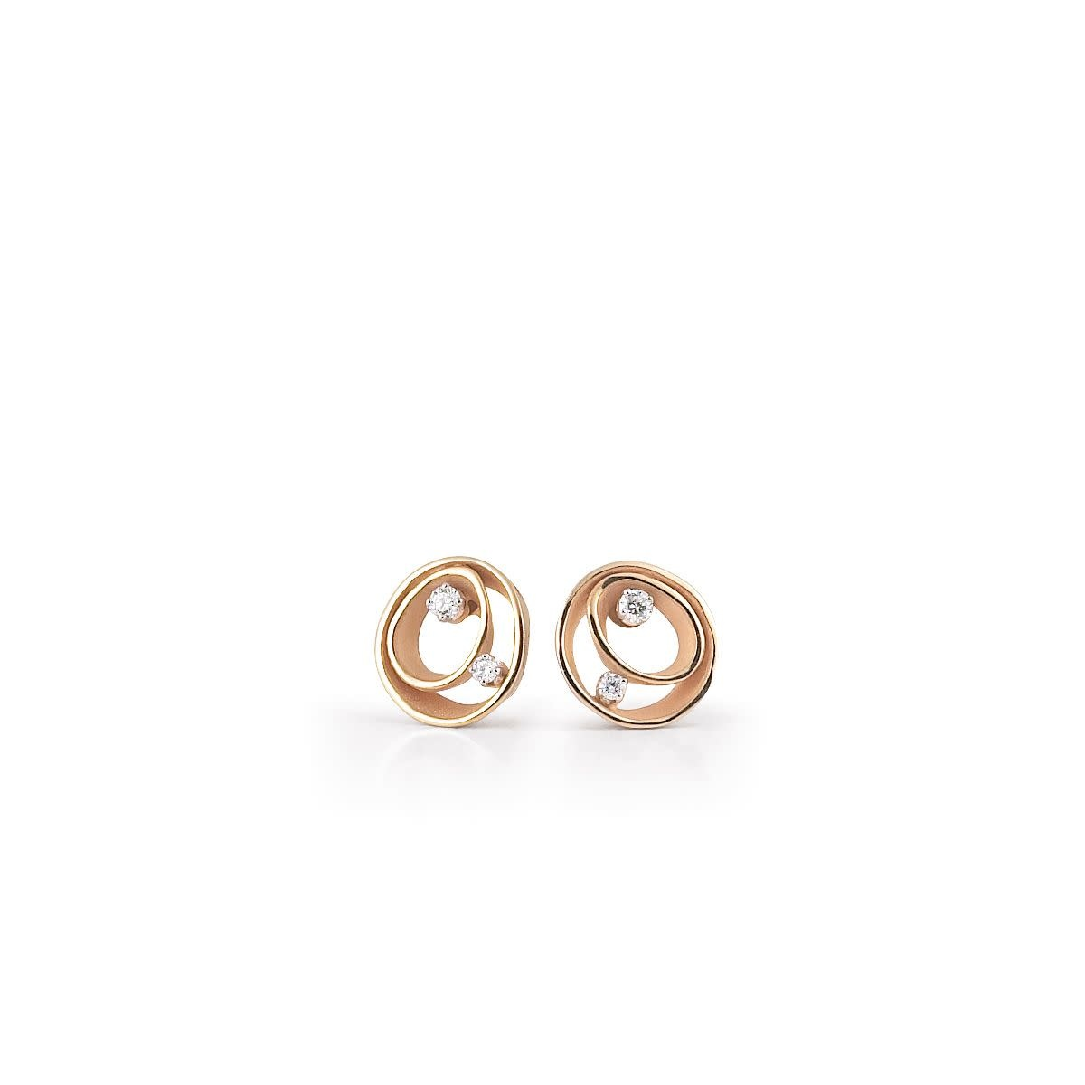 Dune Collection Earrings, 18Kt Orange Apricot Gold With Diamonds-1