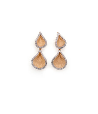 Annamaria Cammilli Goccia Collection Earrings, 18Kt Orange Apricot Gold With Diamonds