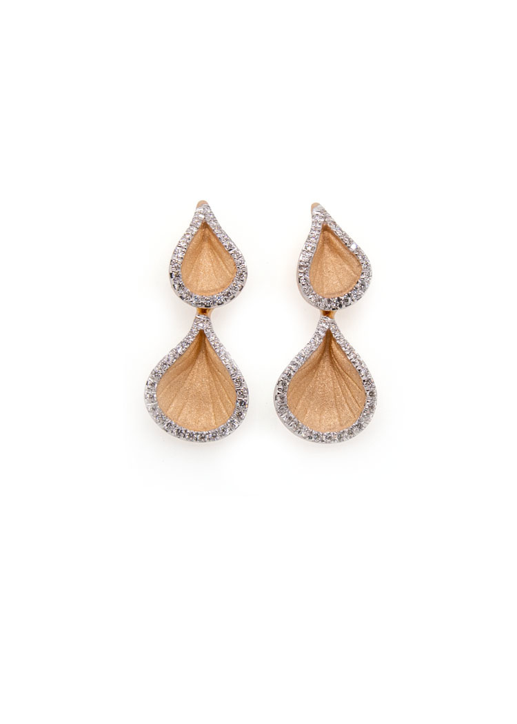 Goccia Collection Earrings, 18Kt Orange Apricot Gold With Diamonds-1