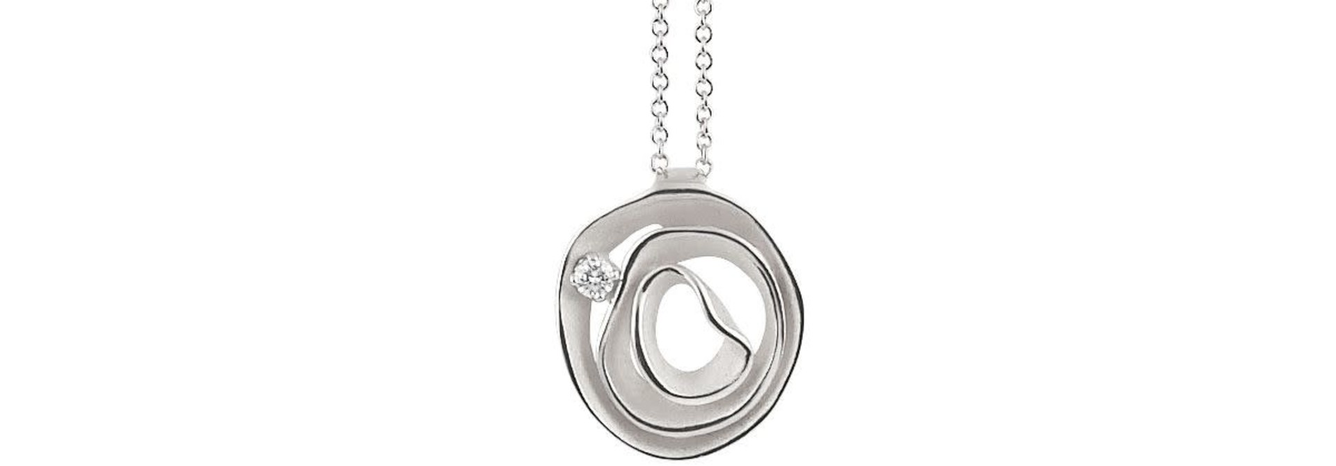 Dune Collection Pendant, 18Kt White Ice Gold With Diamonds
