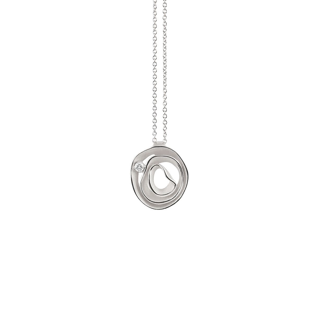 Dune Collection Pendant, 18Kt White Ice Gold With Diamonds-1