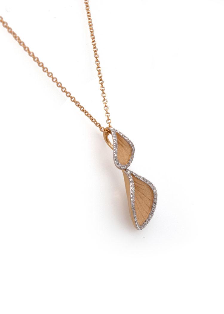 Goccia Collection Pendant,18Kt Orange Apricot Gold with Diamonds-3