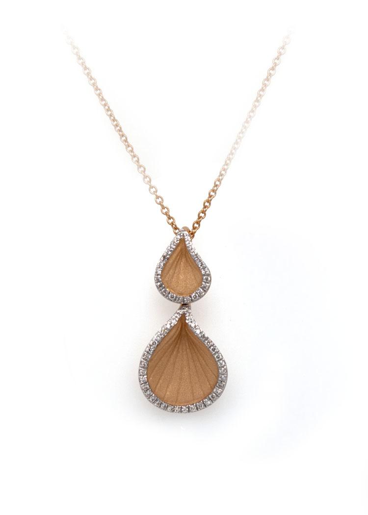 Goccia Collection Pendant,18Kt Orange Apricot Gold with Diamonds-2