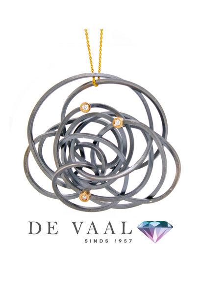 Caos silver & Gold 3 brilliants pendant