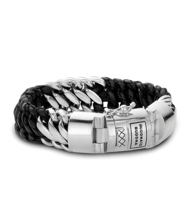 Buddha To Buddha Armband Ben Mix Zilver Leer Zwart