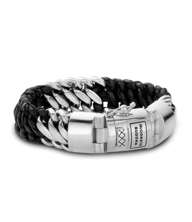 Buddha To Buddha Bracelet Ben Mix Silver Leather Black