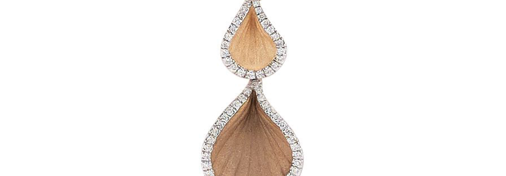 Goccia Collection Pendant,18Kt Orange Apricot Gold with Diamonds