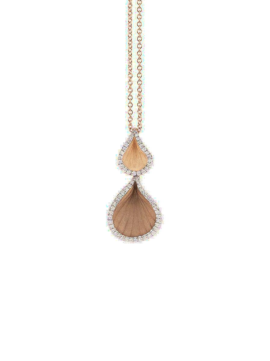Goccia Collection Pendant,18Kt Orange Apricot Gold with Diamonds-1
