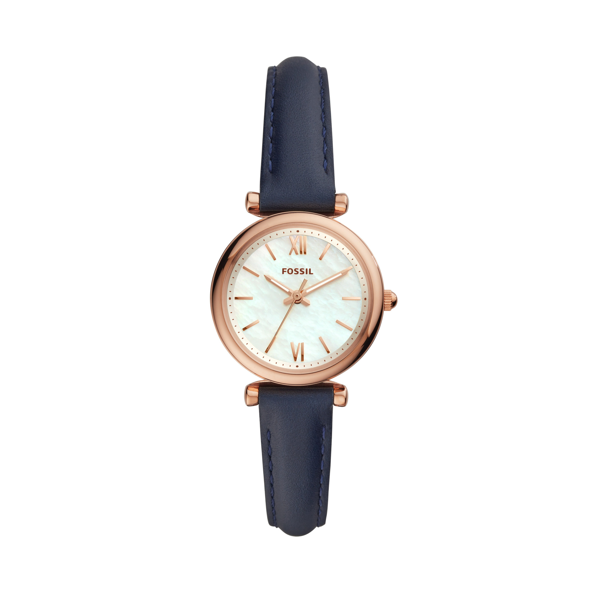 Carlie Mini Three-Hand Navy Leather Watch ES4502-4