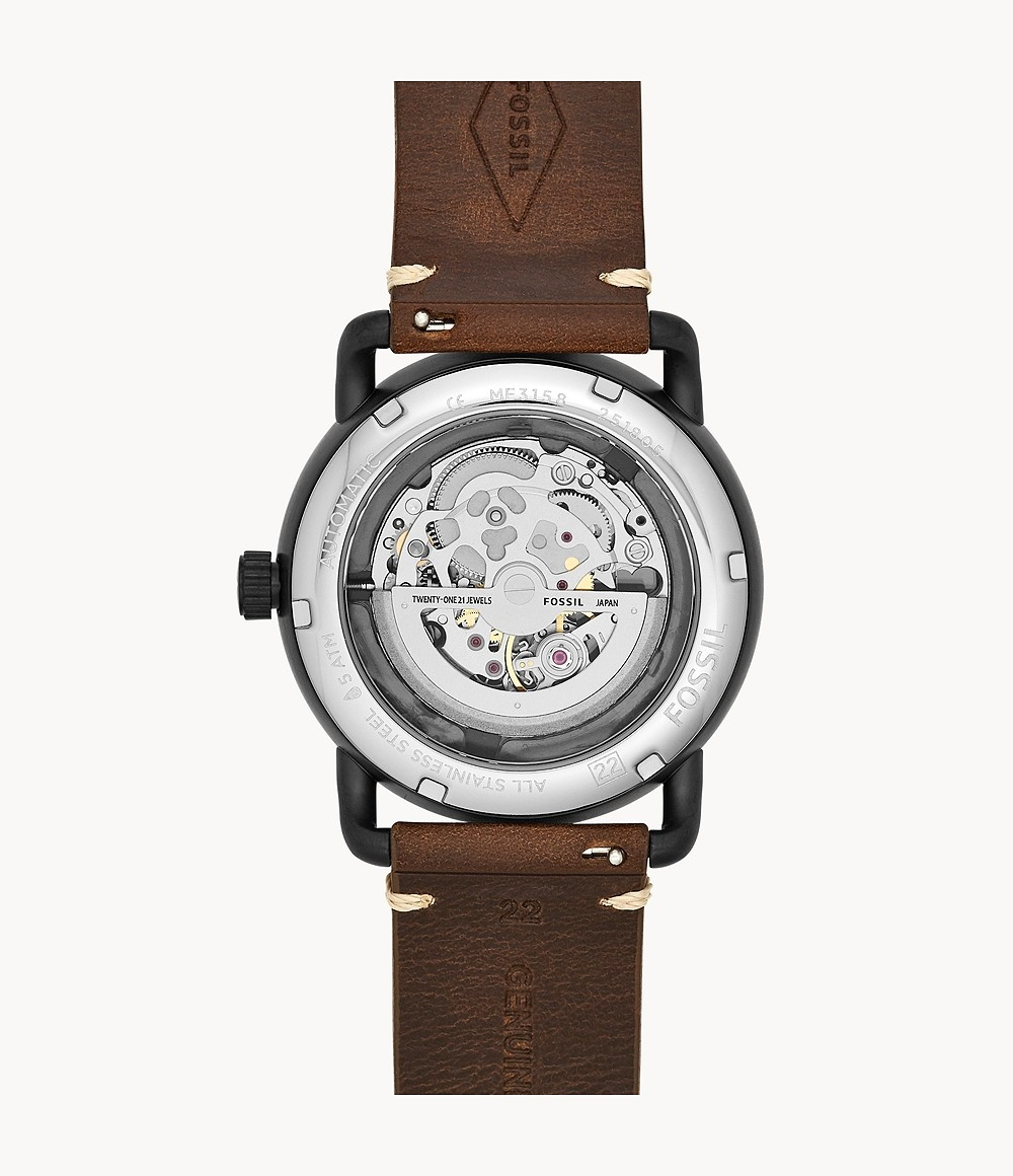 Fossil Commuter Automatic Brown Leather Watch ME3158-3