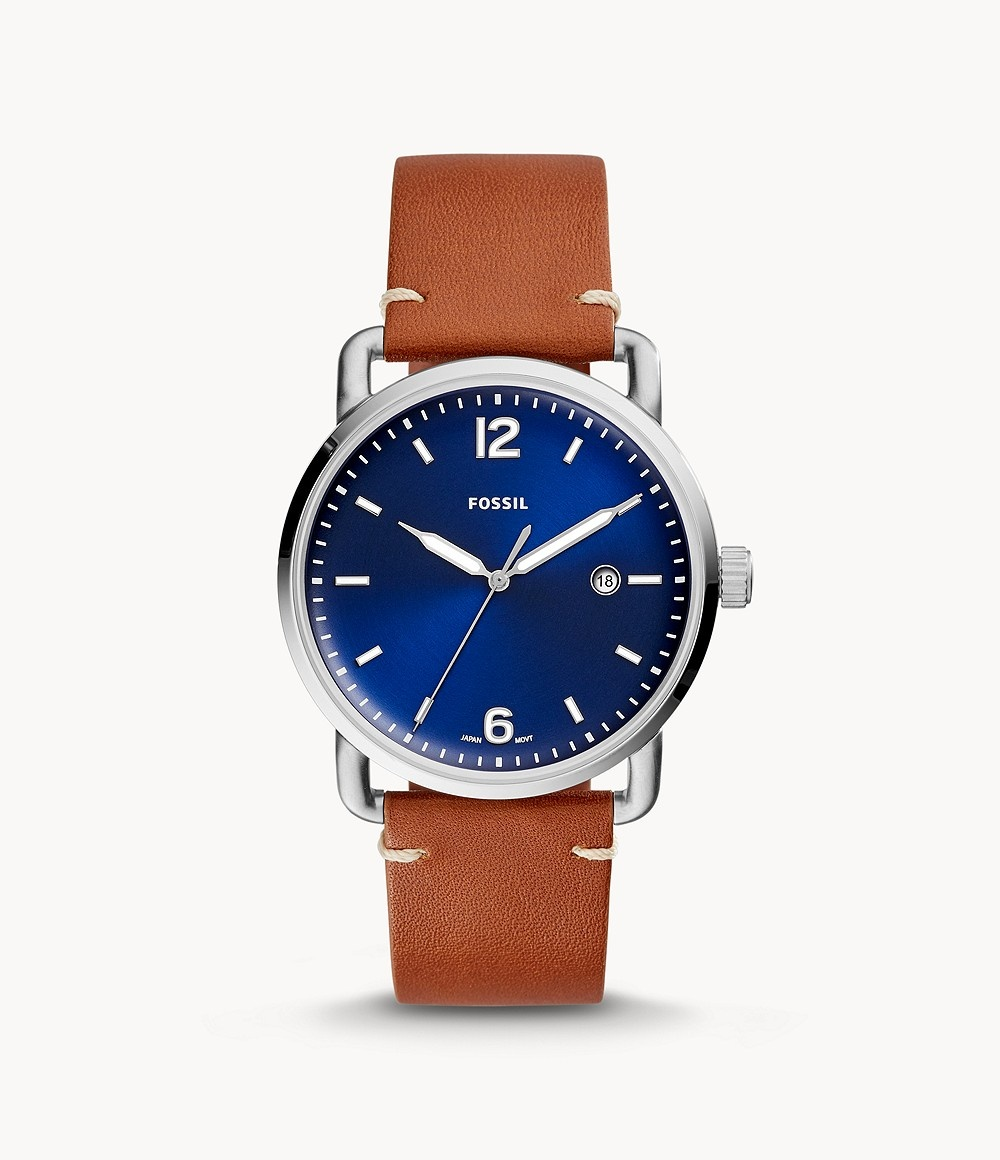 Fossil The Commuter Three-Hand Date Luggage Leather Watch FS5325-1
