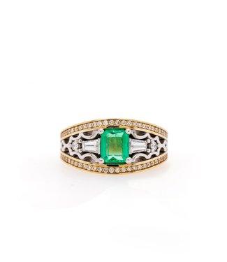 W. de Vaal W. de Vaal - Ring 14krt White gold emerald.