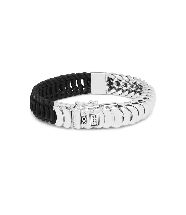 Buddha to Buddha Lars Mix Zilver/Leder Armband Zwart