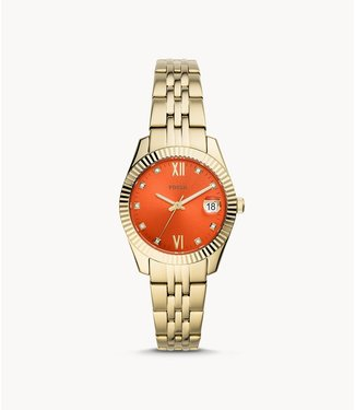 Fossil Fossil Scarlette Mini Three-Hand Date Gold-Tone Stainless Steel Watch