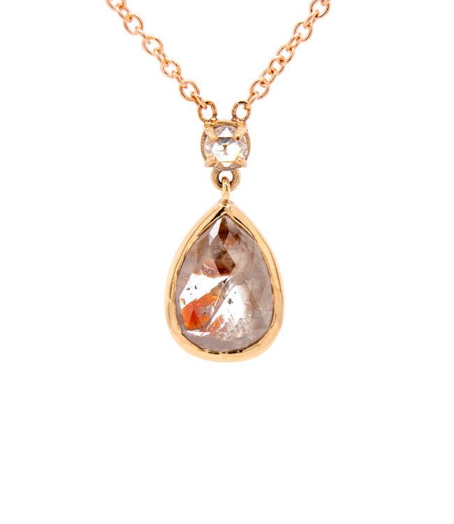 W. de Vaal - Collier 14krt Geelgoud met Roos Diamant 0,11crt (3147)
