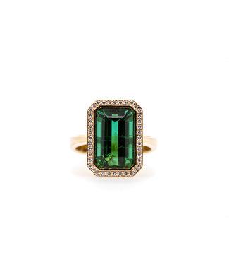 W. de Vaal W. de Vaal - Ring 14krt Geelgoud met Toermalijn 6,81crt & Diamant 0,20crt (3030)