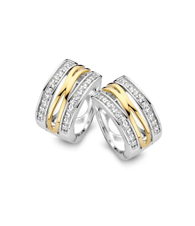 Excellent jewelry Creool zilver/goud zirkonia OF625210