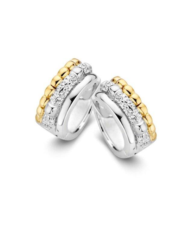 Excellent jewelry Creool zilver/goud zirkonia OF626257