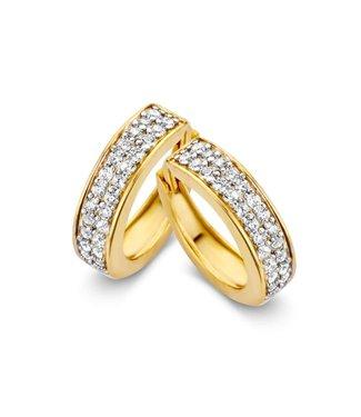Excellent Jewelry Creool geelgoud zirkonia OB126402