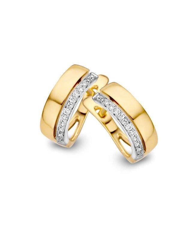 Excellent jewelry Creool bicolor briljant 0,10 crt. OP416158