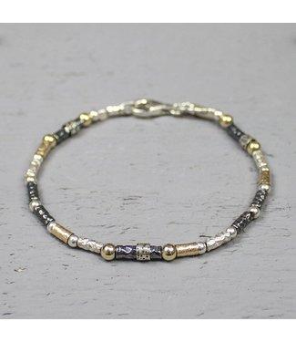 Jeh Jewels 19686 - Armband zilver oxy en golfilled buisjes
