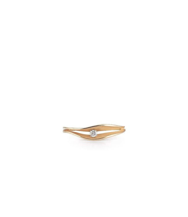 Dune Collection Ring, 18Kt Orange Apricot Gold With Diamond