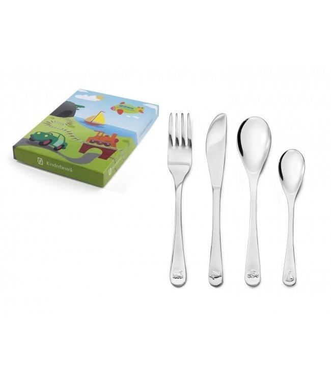 Zilverstad Vehicles Children's cutlery - 4 pieces - stainless steel