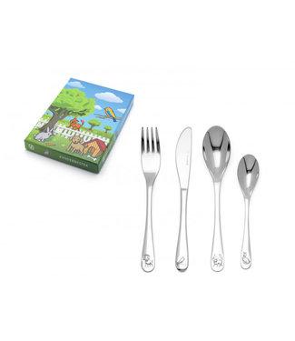Zilverstad Zilverstad Children's Cutlery Set Pets - 4-piece - stainless steel