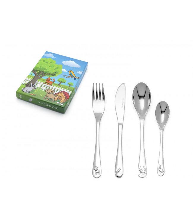 Zilverstad Children's Cutlery Set Pets - 4-piece - stainless steel