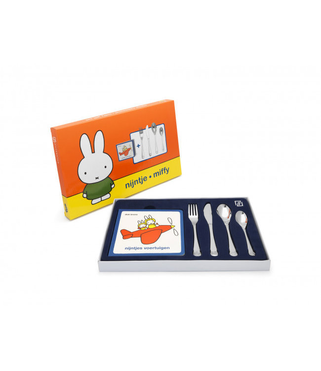 Zilverstad Children's cutlery miffy vehicles - 4-piece - stainless steel - with reading booklet Miffy vehicles