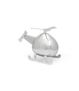 Zilverstad Spaarpot Helikopter - zilver kleur - Gratis te graveren
