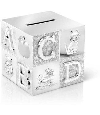 Zilverstad Zilverstad Money box Cube - large - ABC - silver color