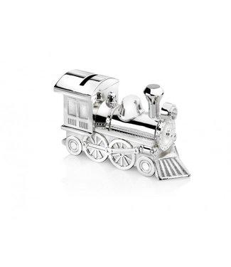Zilverstad Spaarpot Locomotief, Verzilverd gelakt - Gratis te graveren