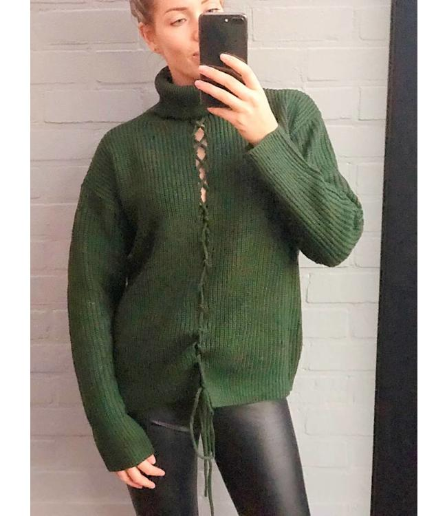 Army green knitwear