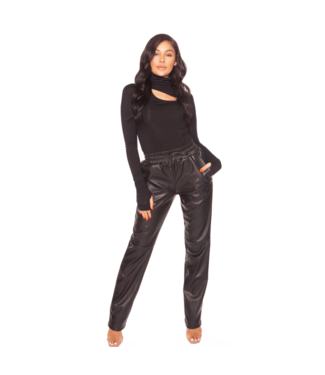 LA Sisters Lederlook straight leg broek