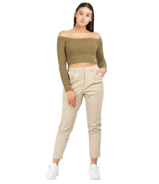 Na-Kd tapered Pu pants beige