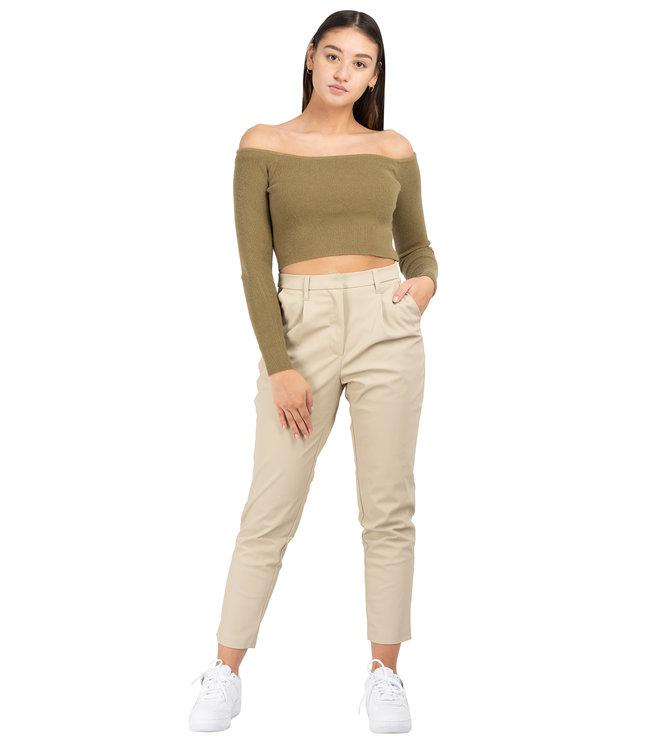 Na-Kd tapered Pu pants beige