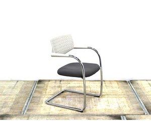 Vitra Stoel Wit : Vitra visavis stoel grijs wit chroom slede lamers