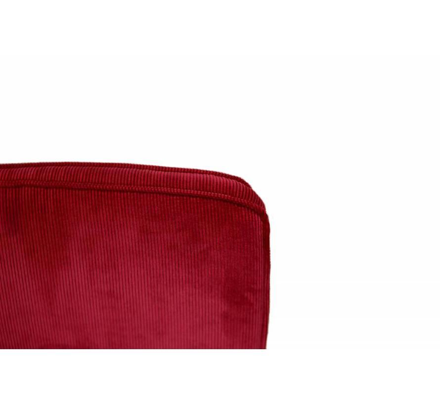 Zuiver Ridge Rib Stoel | Rood - Chroom Onderstel