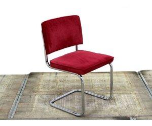 Zuiver Stoel Ridge : Zuiver ridge rib stoel rood chroom onderstel lamers